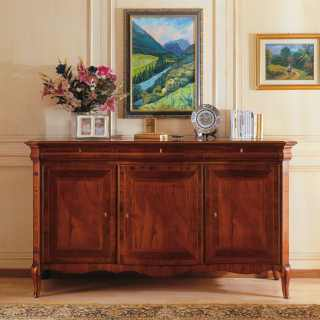 Classic walnut sideboard, 800 francese style. Handmade in Italy