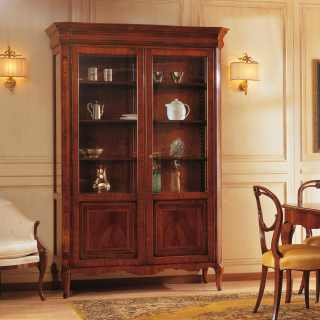 Walnut inlayed glass showcase, 800 francese style. Italian luxury classic furniture