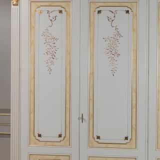 Classic modular wardrobe, withe and gold finish, carved pillars, flower decorations