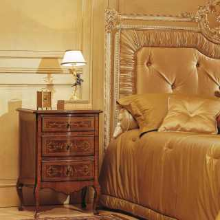 Luxury classic bedroom Louvre, walnut night table, capitonné bed with golden carvings, white over gold finish