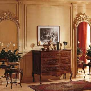 Walnut classic chest of drawers, big wall mirror with golden carvings, walnut tables classic style, luxury furniture collection Louvre