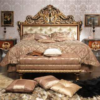 Classic bedroom Emperador Black, carved wood, black and gold leaf finish, carved night table, upholstered capitonné bench