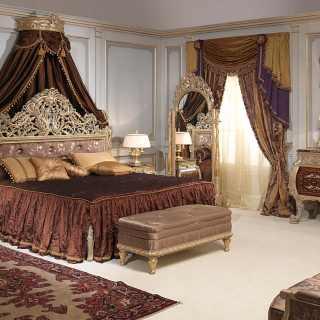Classic bedroom Emperador Gold, Luigi XV style, walnut and grey patinated gold finish