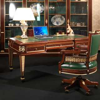 Ermitage office Impero style: mahogany writing table, leather top, gold leaf details; swivel leather and mahogany armchair, gold leaf details