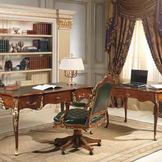 Luigi XV style classic studio: desk and writing table Louis XV style, gold leaf details, walnut antique finish