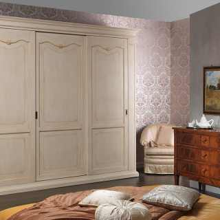 Classic wardrobe Provenza collection with carvings and golden details
