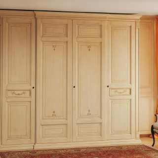 Classic wardrobe Canova, four doors. Anticated lacquered finish. handmade in Italy
