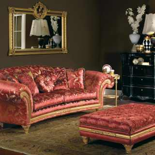 Classic living room Palace, red and gold fabric finish, composed by sofa with carved and golden details and a upholstered capitonnè bench