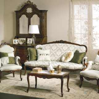 Classic living room Carlotta with carved wooden sofa and armchairs