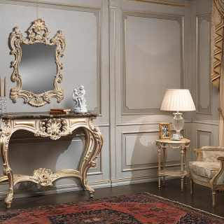 Carved classic console with marble top, carved wall mirror, all white over gold finish