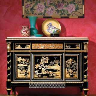 China black lacquered chest of drawers, gold leaf details, Valencia Cream marble top