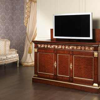 Mahogany TV holder with brass decorations and gold leaf details