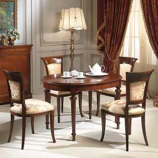 Oval walnut table extensible till cm 255 with 4 extensions
