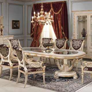 Luigi XVI style dining room, white and gold collection: oval table, carved chairs, sideboard with mirror and glass showcase. All white over gold finish