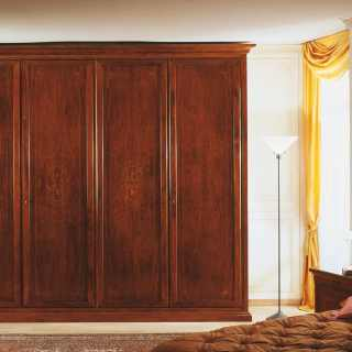 Walnut wardrobe with marquetry, two elements, solid wood back. 800 francese classic collection