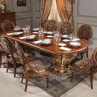 Luxury classic collection Versailles, Luigi XVI style: myrtle briar table. walnut and gold leaf finish; carved and upholstered chairs