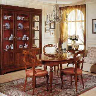 800 francese style dining room: inalyed glass showcase and table, carved chairs, all walnut wood