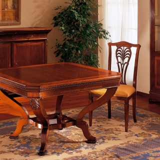 Class inlayed and carved table Carlo X style, made in Italy