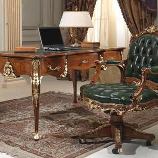 Luxury classic studio Louis XV style: carved desk and armchair, walnut antique finish, gold leaf details