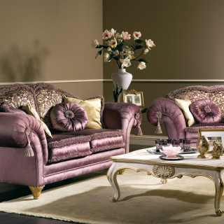 Classic living room with sofa and armchair Excelsior, purple and flower fabric finish