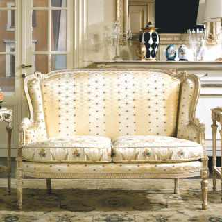 Classic sofa San Marco collection, ivory fabric finish,carved details, white over gold finish