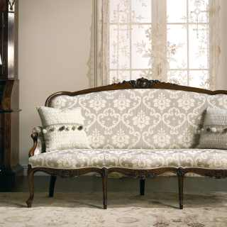 Wooden carved sofa Carlotta, classic style, made in Italy