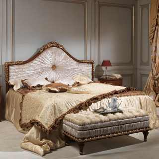 Classic bedroom Louvre, wooden bed with gold leaf, night table and capitonné bench
