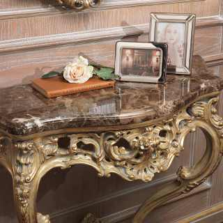 Carved classic console with marble top, gray patinated gold leaf finish