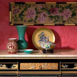 China black lacquered chest of drawers, gold leaf details, Valencia Cream marble top, Luigi XV style