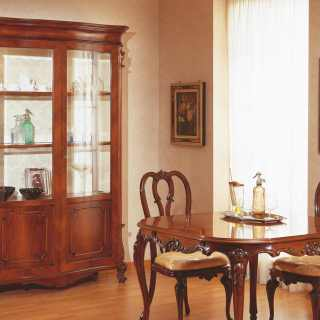 Classic dining room 700 siciliano style: walnut table and showcase
