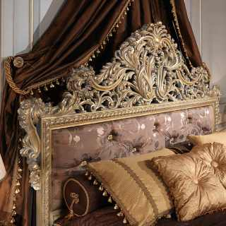 Emperador Gold bed, Luigi XV style, luxury carved wood, made in Italy