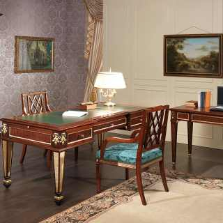 Classic mahogany desk and writing table Impero style, gold leaf details. Impero style chairs