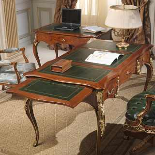 Louis XV classic luxury writing desk, walnut antique finish and gold leaf details. Classic lusxury furniture made in Italy