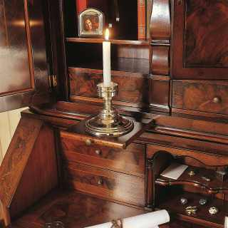 700 lombardo collection of luxury classic furniture, walnut trumeau, detail of the writing-desk with shelfs