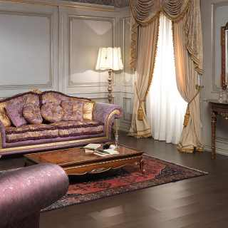 Classic living room Imperial, purple fabric finish. Carved and golden details and cymatium. Walnut carved table