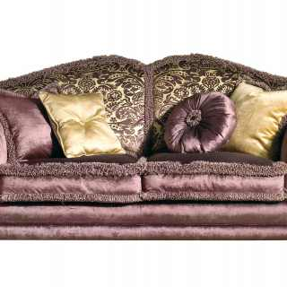 Classic sofa Excelsior, purple and flower fabric finish