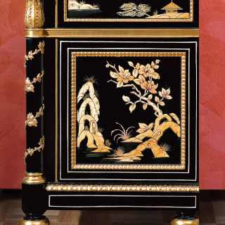 China black lacquered night table, Luigi XV style, gold leaf details, marble top
