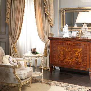 I Maggiolini classic luxury collection: inlayed walnut chest of drawers, wall mirror gold leaf finish, upholstered armchair