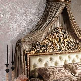 Classic bedroom Emperador Black, carved and capitonné bed, carved wall tester, black and gold leaf