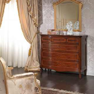 Classic walnut chest of drawers, carved and golden wall mirror