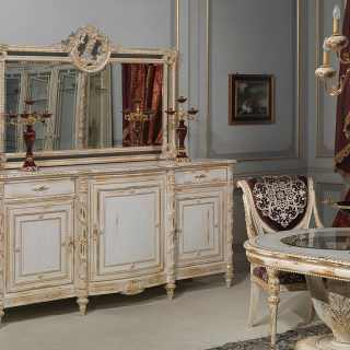 Sideboard with carved mirror Luigi XVI style, White and gold collection, white over gold finish