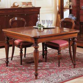 800 francese style dining room: walnut extensible square table, carved and inlayed chairs, inlayed sideboard and glass showcase