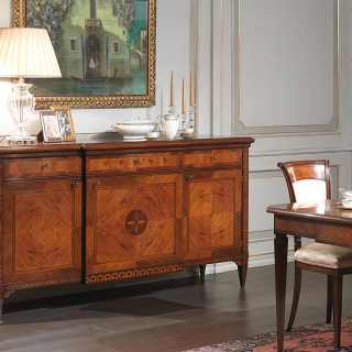 Walnut and olivewood classic sideboard Maggiolini style, handmade marquetry. Classic luxury italian furniture