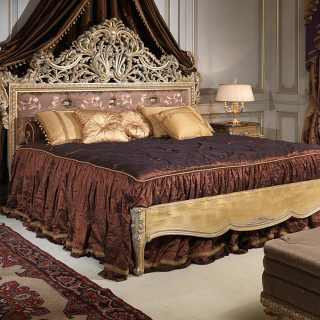 Classic bedroom Emperador Gold, Luigi XV style, carved bed, night table and capitonné bench