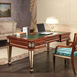 Classic desk Impero style: mahogany, brass decorations and gold leaf details. Impero style chair with carvings, mahogany and gold leaf finish