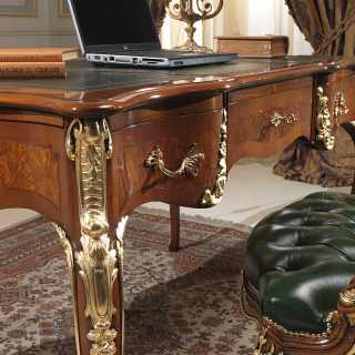 Classic Louis XV style writing desk with handmade carvings, walnut antique finish and gold leaf details