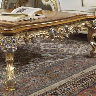 Classic living room Imperial with carved table, gold and silver leaf finish