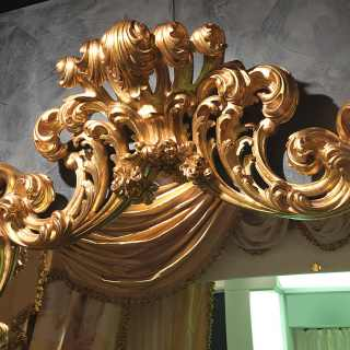 Carved wall mirror 600 italiano baroque style, golden finish