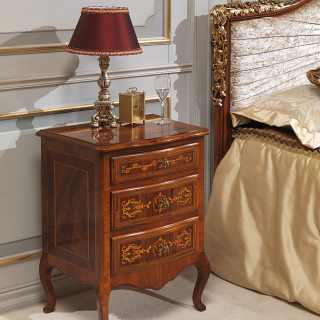 Walnut night table, antique finish, Louvre classic bedroom collection