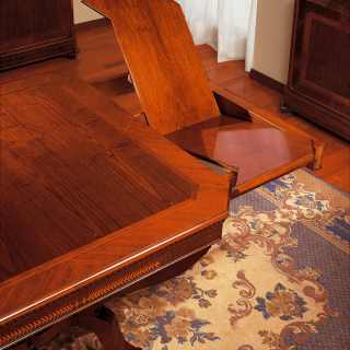 Classic inlayed and carved table Carlo X style, made in Italy. Detail